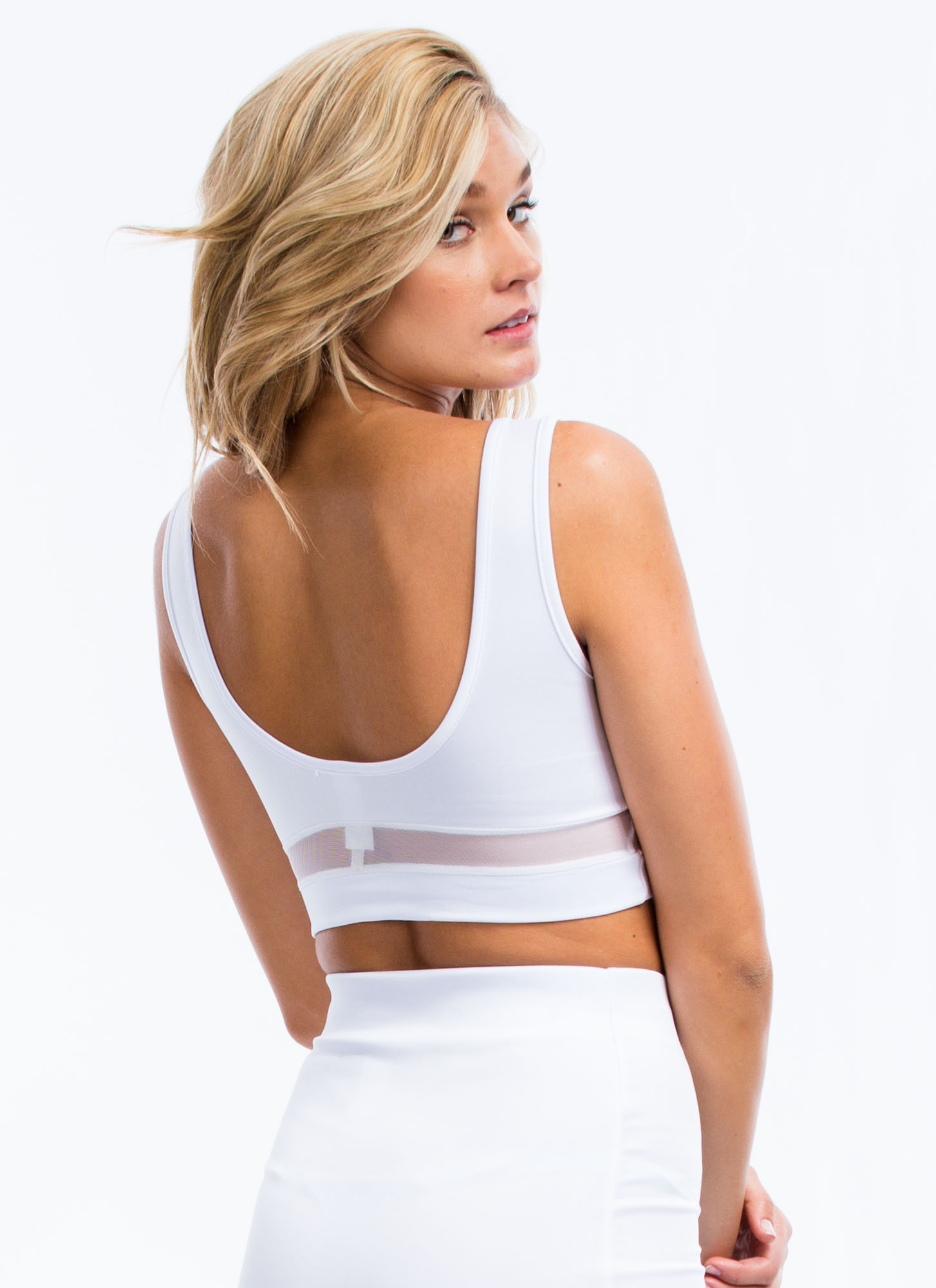 Mesh You Up 23 Cropped Tank WHITE
