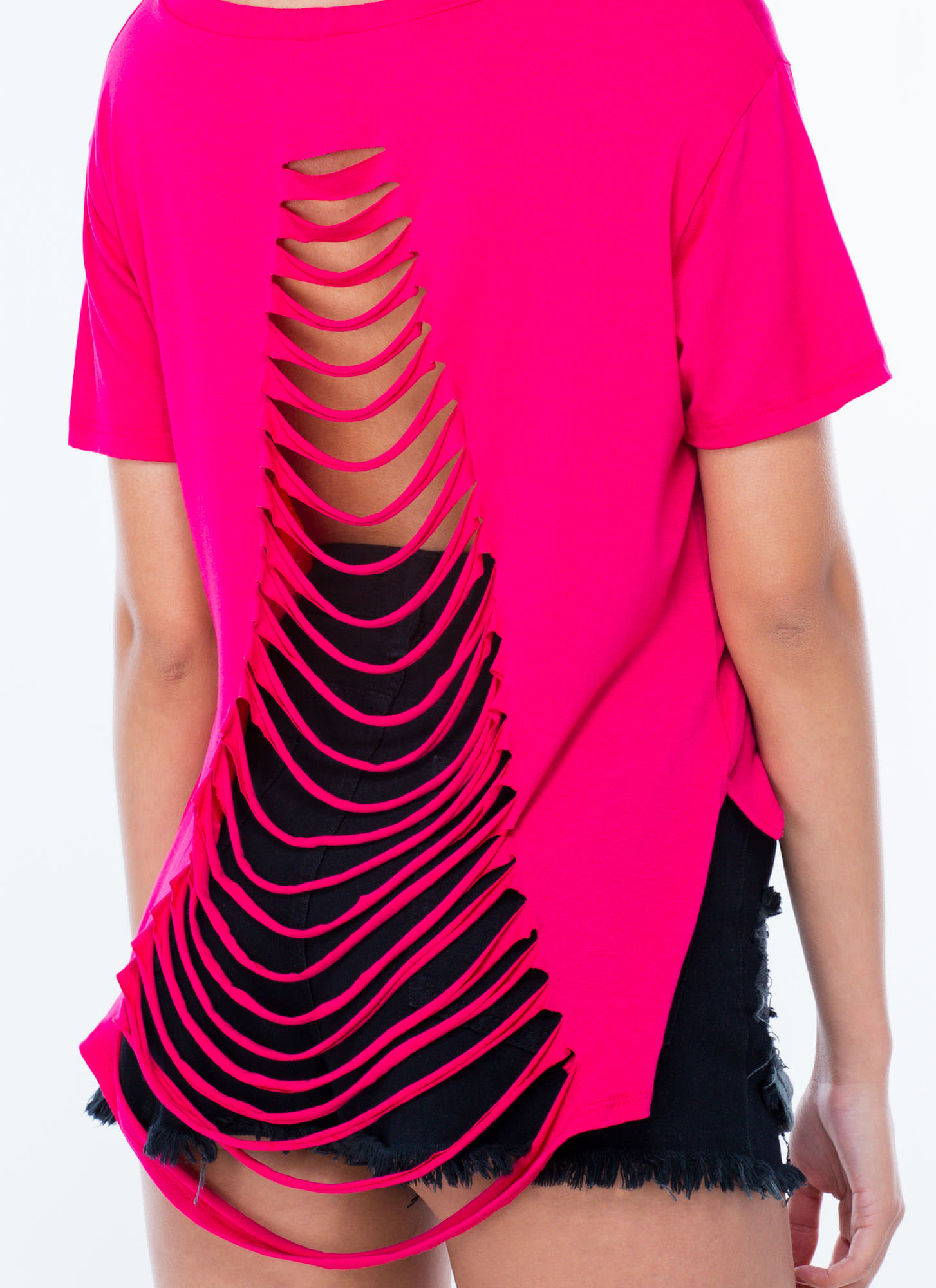 Shredded Homies High-Low Tee FUCHSIA