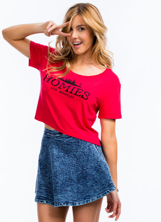 Shredded Homies High-Low Tee RED