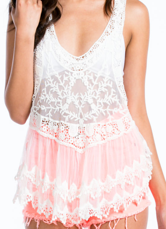 Romantic Lace 'N Crochet Tank WHITE