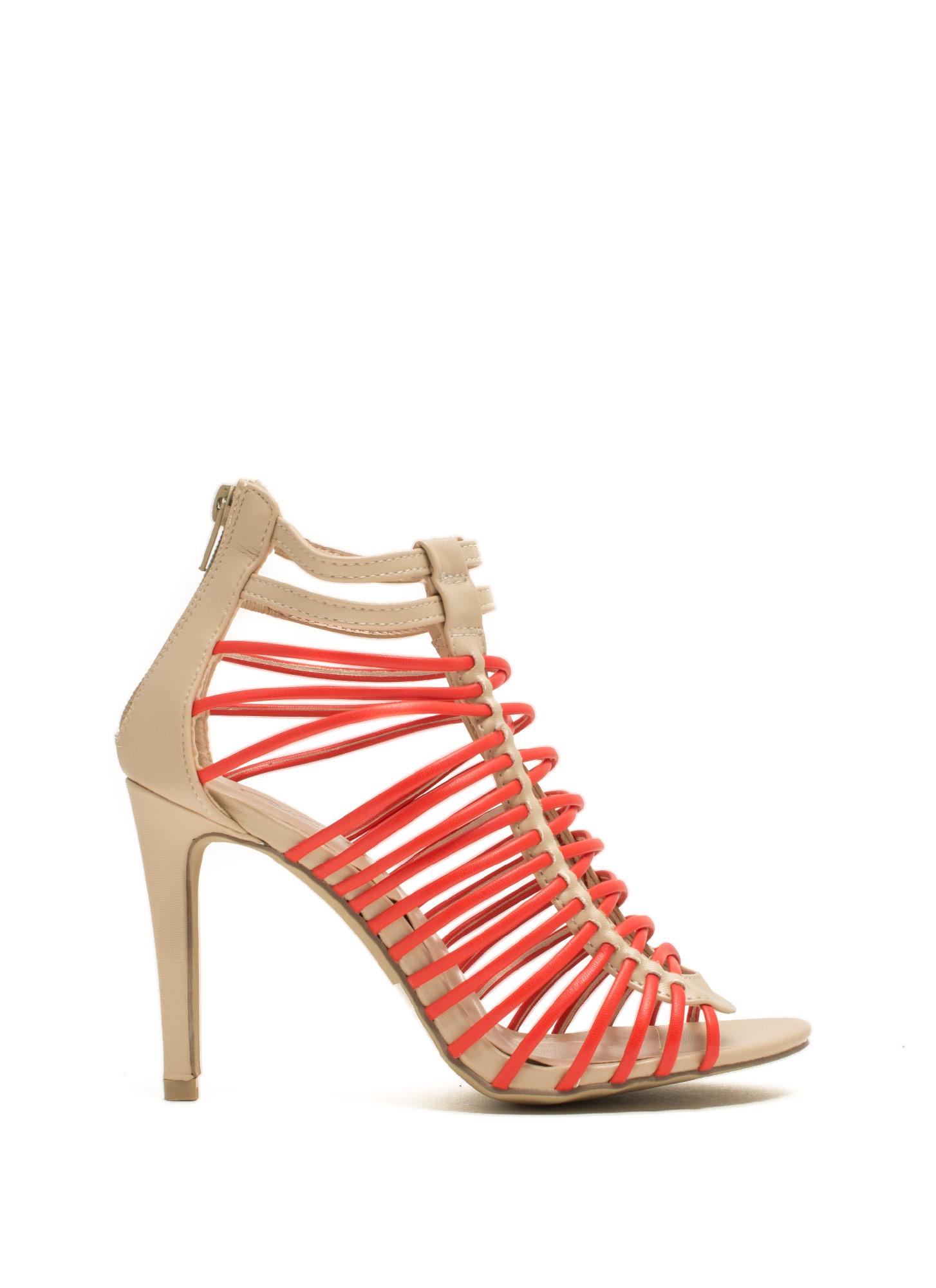 Crisscrossed Strappy Caged Heels BEIGEORG