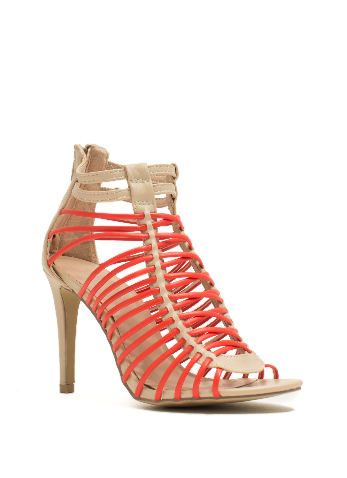 Crisscrossed Strappy Caged Heels BEIGEORG  (Final Sale)