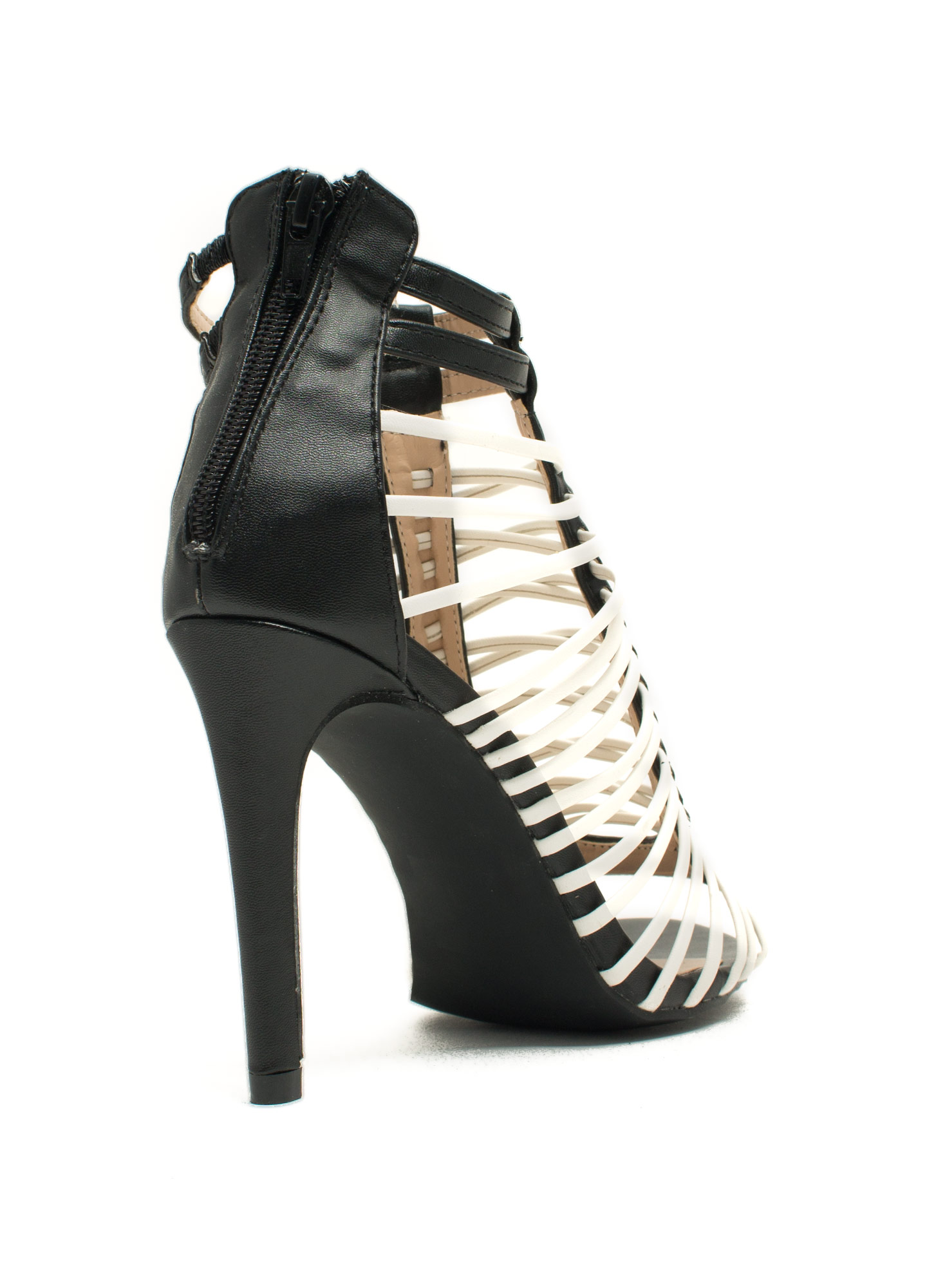 Crisscrossed Strappy Caged Heels BLACKWHITE