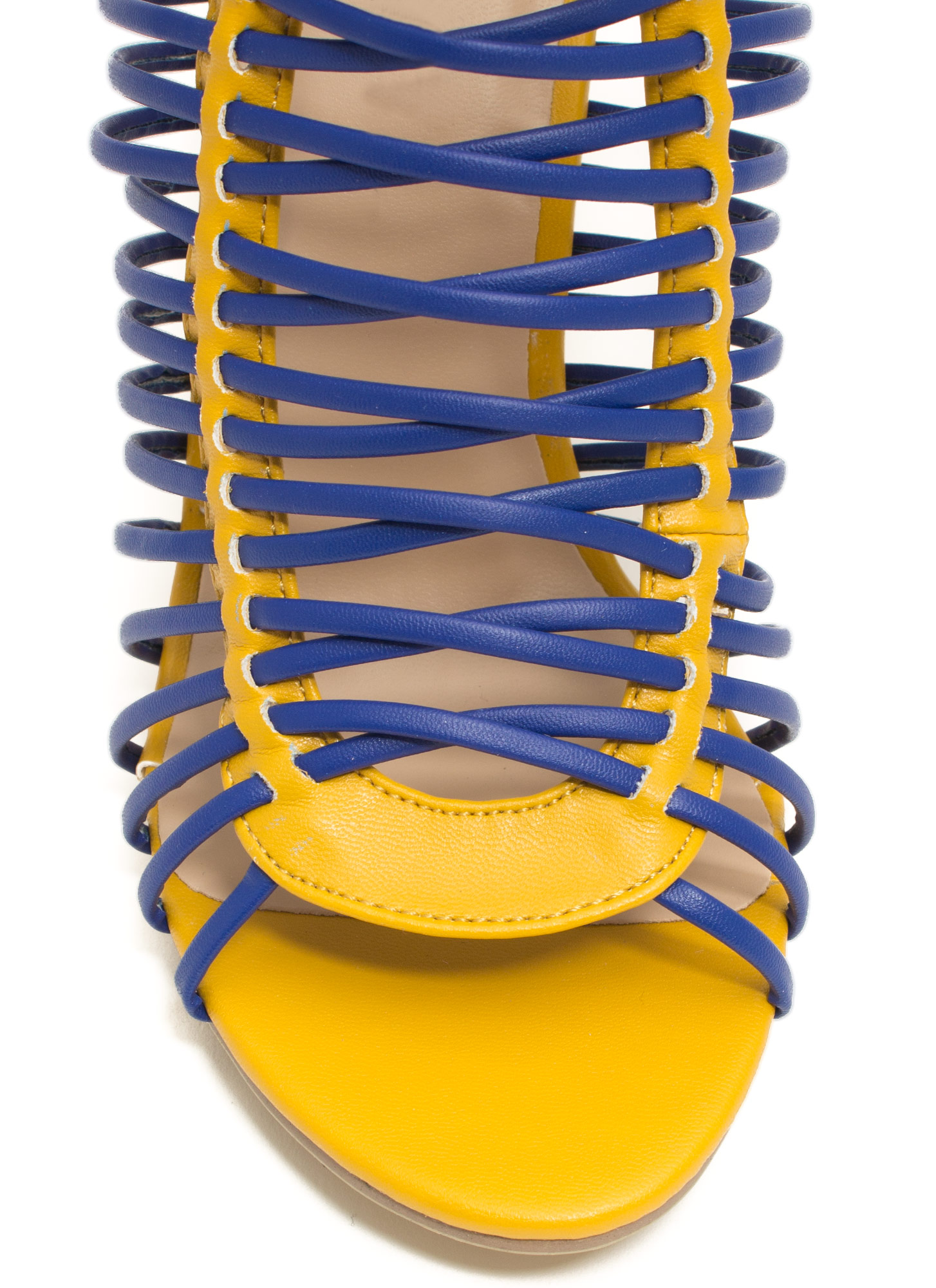 Crisscrossed Strappy Caged Heels MUSTBLUE