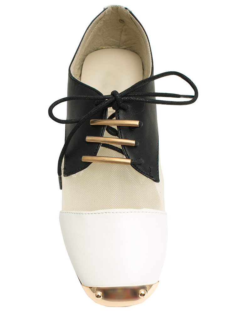 Quit Meshing Metallic Accent Oxfords BLACKWHITE