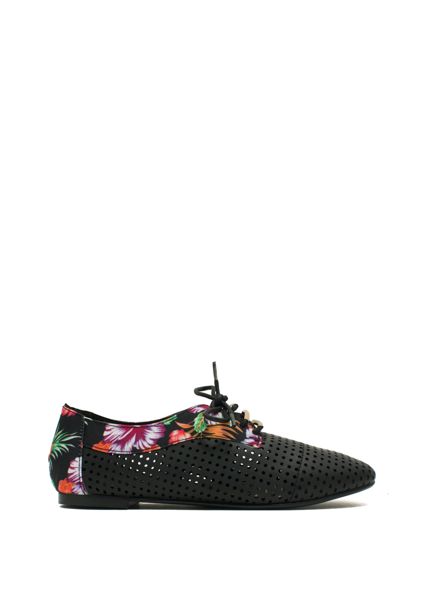 Perforated Floral Oxfords BLACK