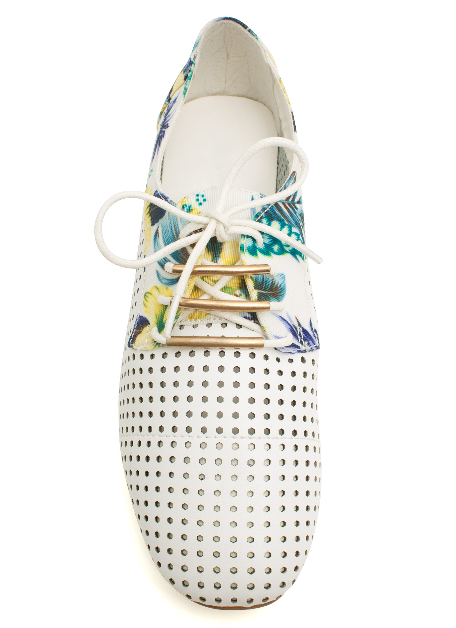 Perforated Floral Oxfords WHITE