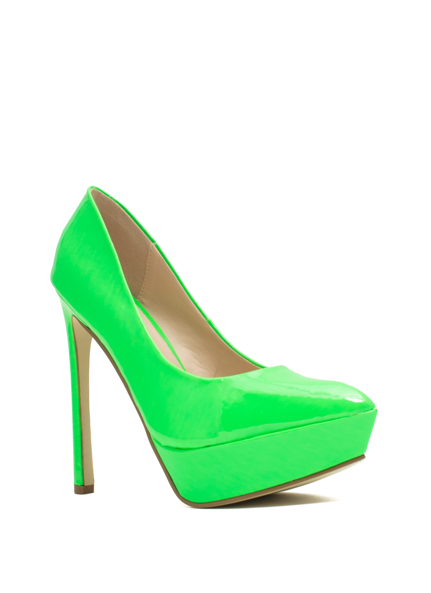 Point The Way Faux Patent Platforms NEONGREEN