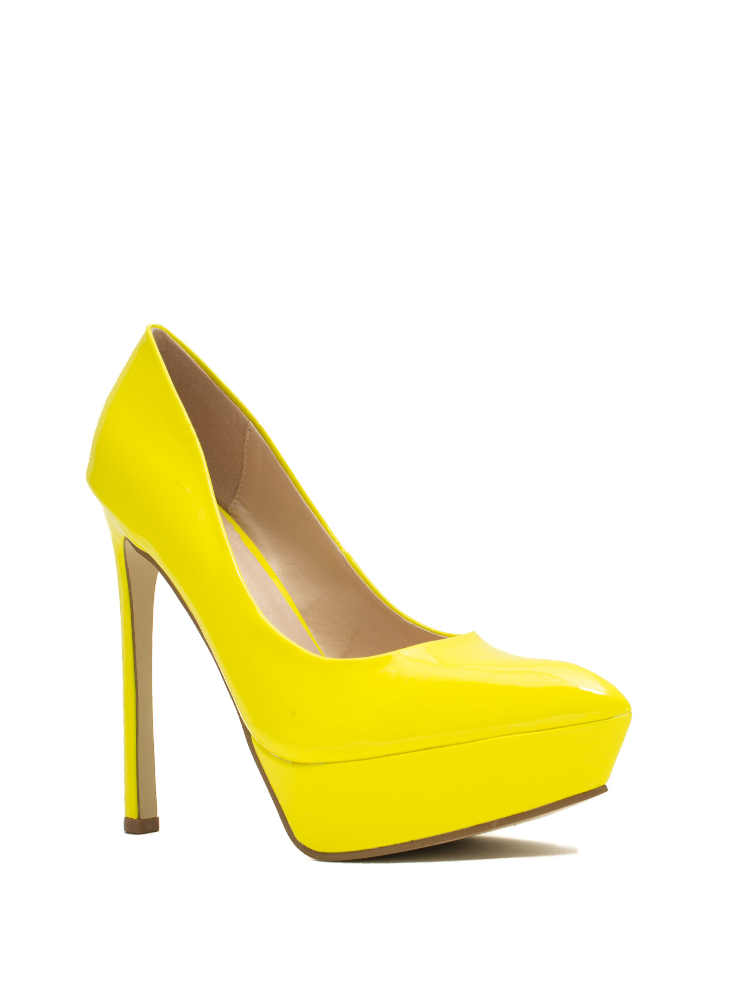 Point The Way Faux Patent Platforms NEONYELLOW