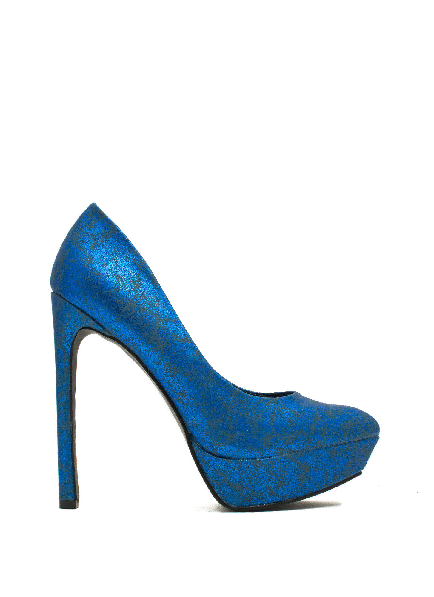 Point The Way Marbled Platform Heels ROYAL