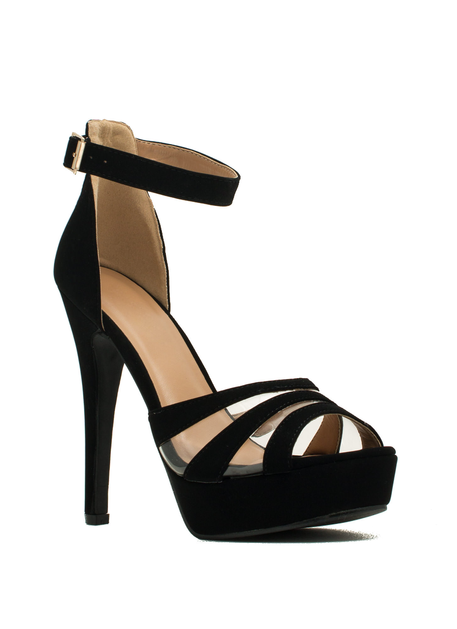 Clearly Strappy Faux Nubuck Heels BLACK