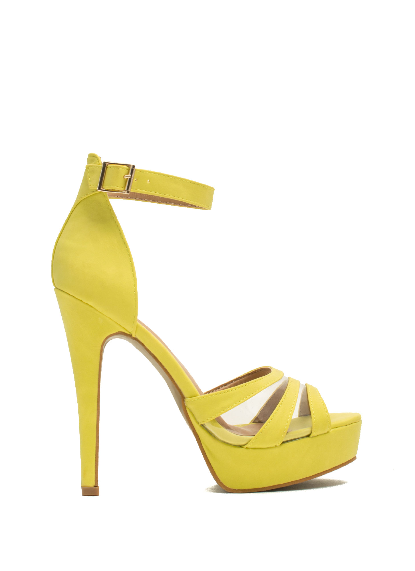 Clearly Strappy Faux Nubuck Heels LIME