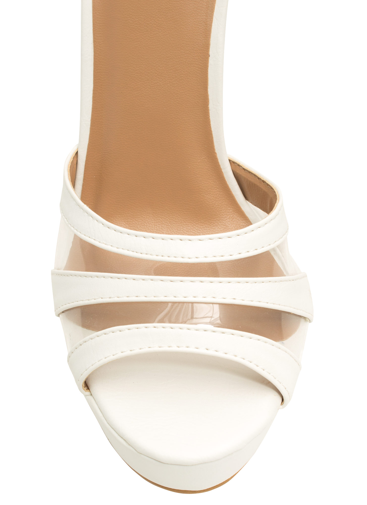 Clearly Strappy Faux Nubuck Heels WHITE