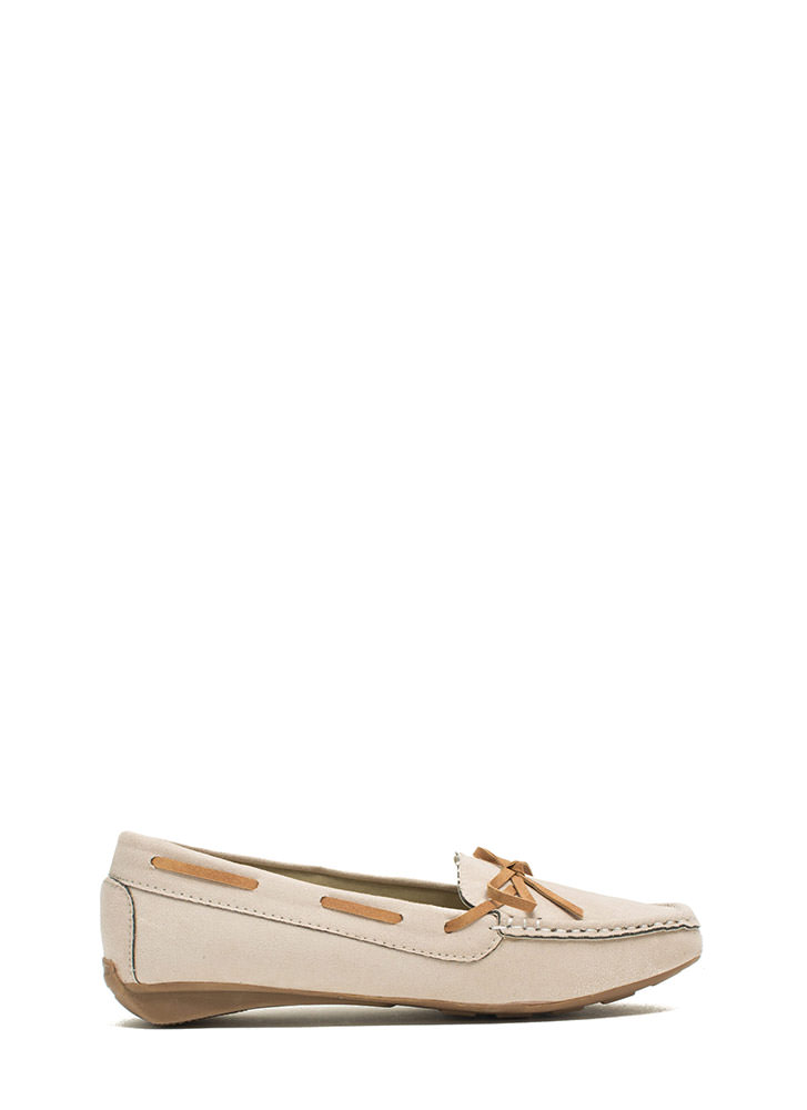 Faux Suede Driving Moccasin Flats BEIGE