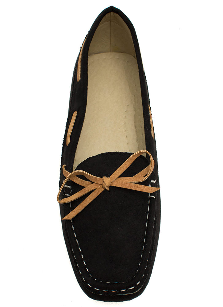 Faux Suede Driving Moccasin Flats BLACK