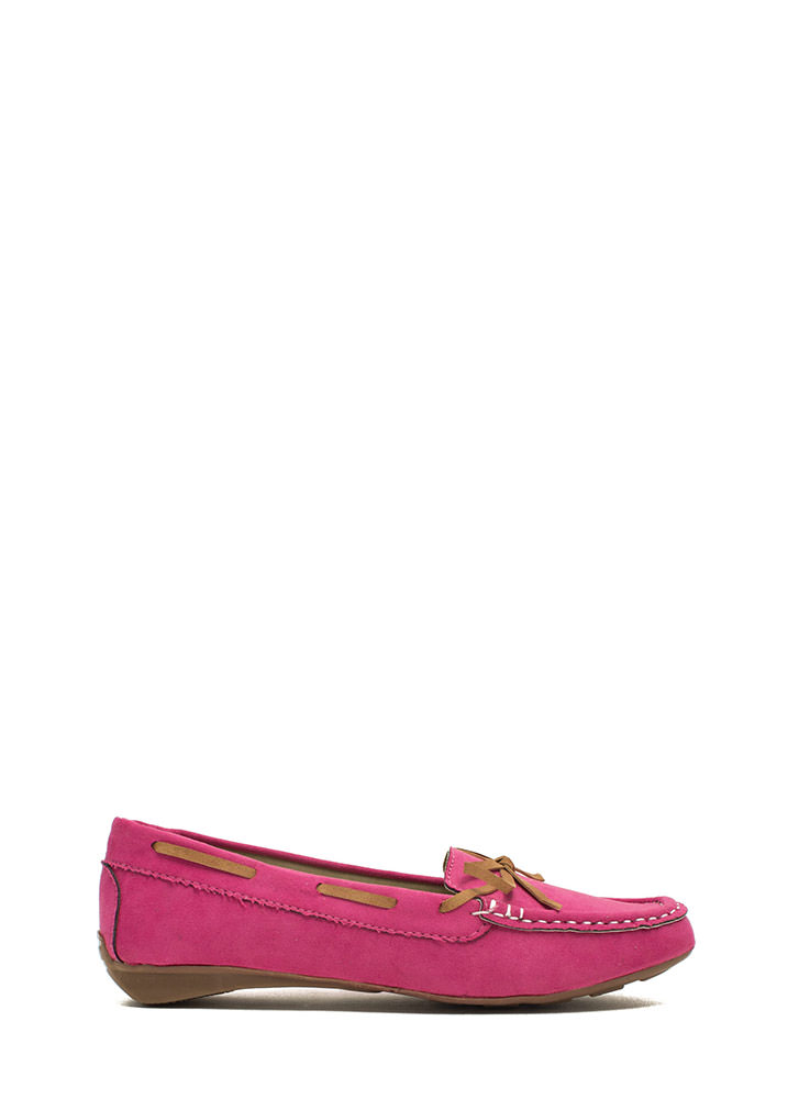 Faux Suede Driving Moccasin Flats FUCHSIA