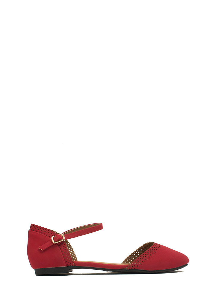 All Eyelets On You Ankle Strap Flats DKRED