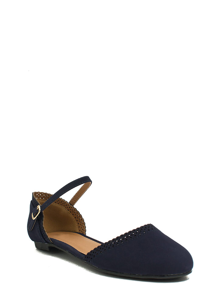All Eyelets On You Ankle Strap Flats NAVY