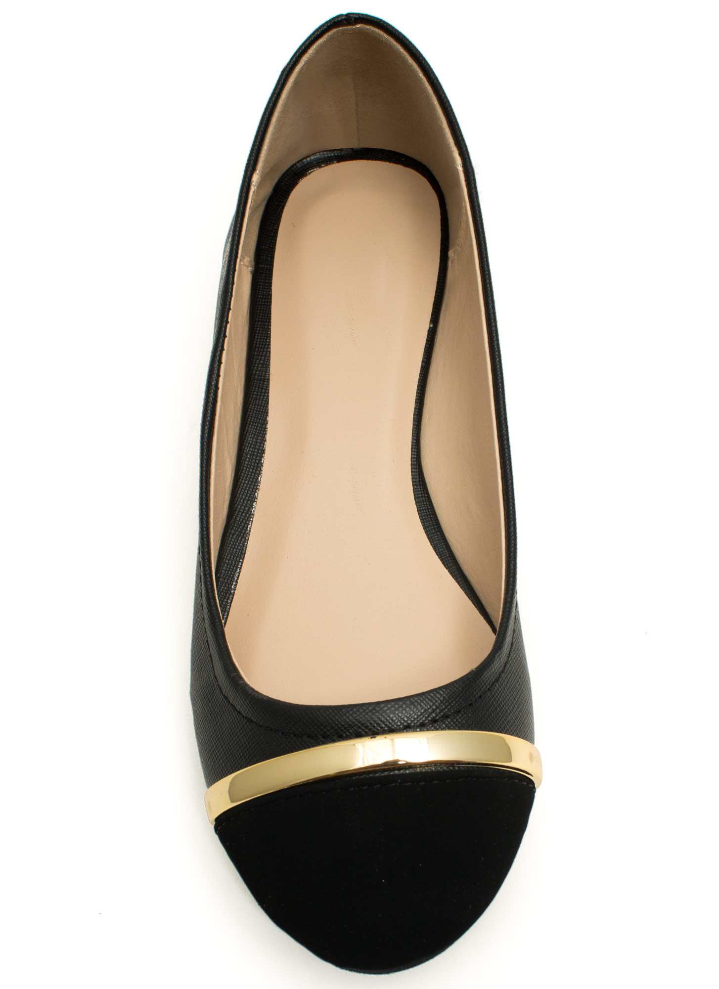 Stay In Line Cap Toe Ballet Flats BLACK