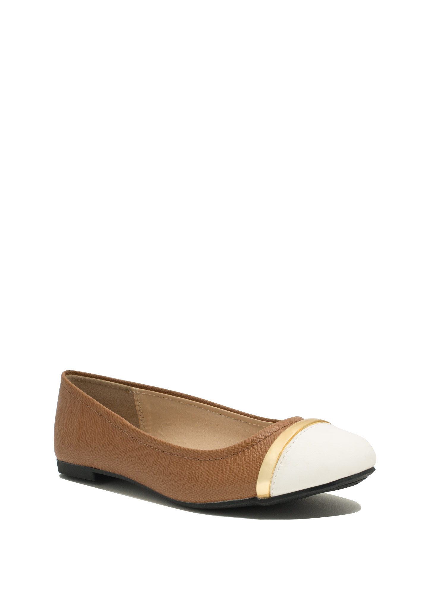 Stay In Line Cap Toe Ballet Flats CAMEL