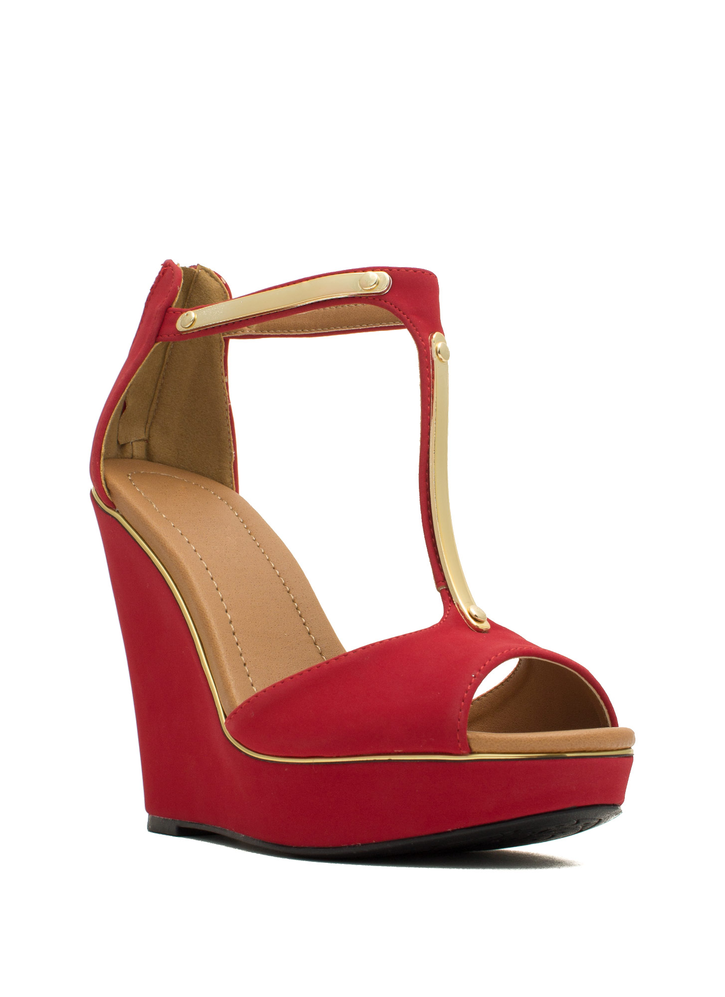Rise And Shine Trimmed T-Strap Wedges DKRED