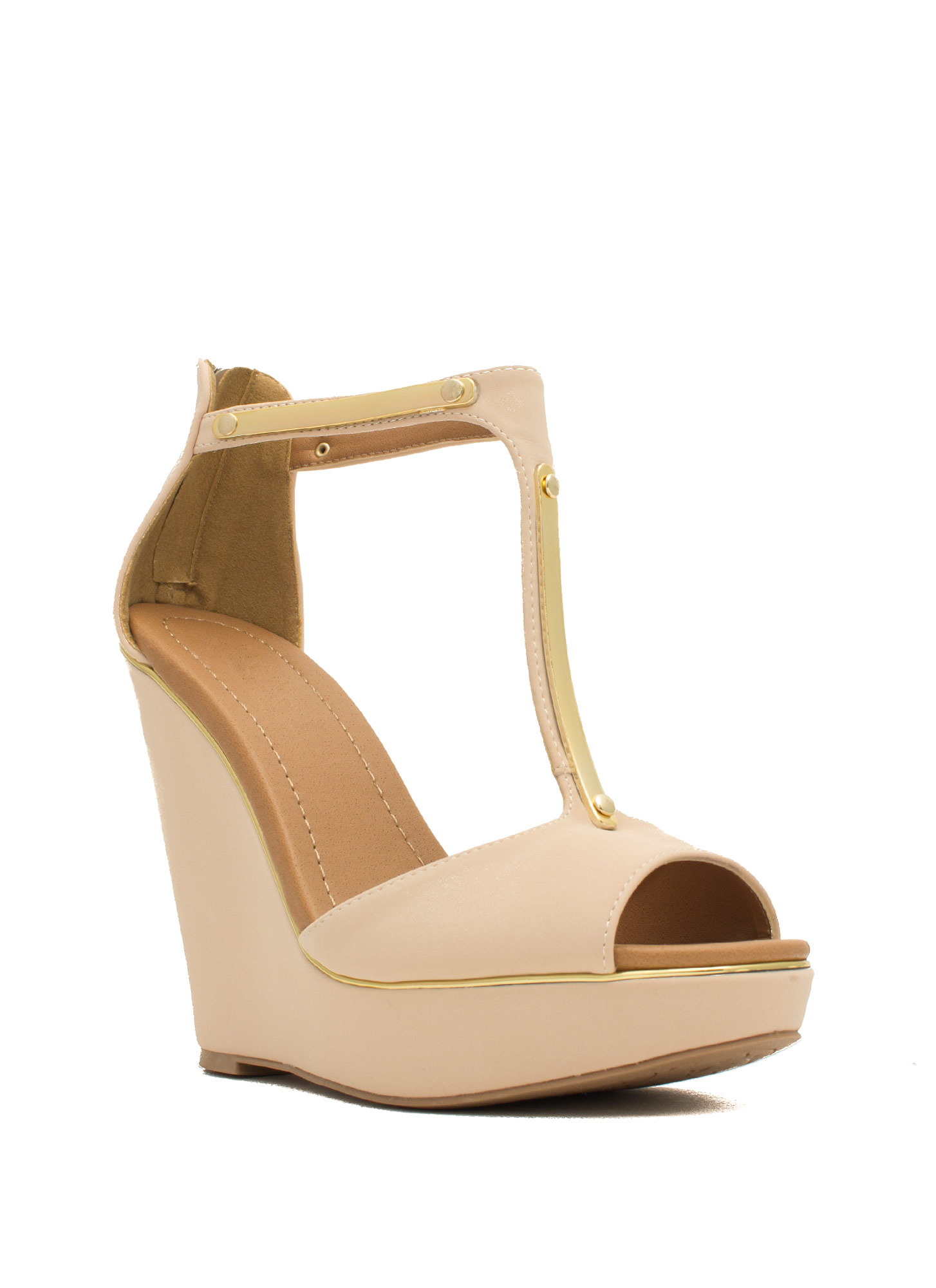 Rise And Shine Trimmed T-Strap Wedges NUDE