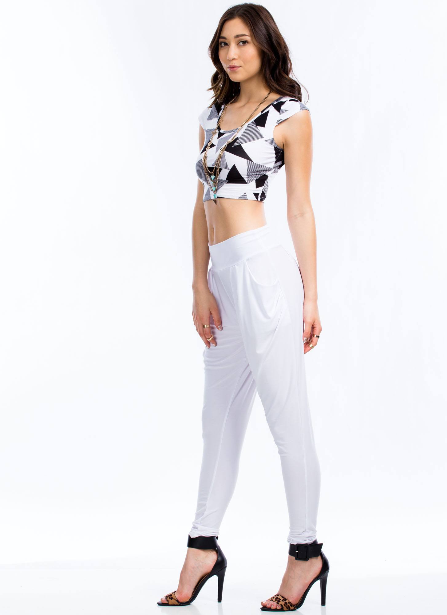 Graphic Geo Print Cropped Top BLACKWHITE