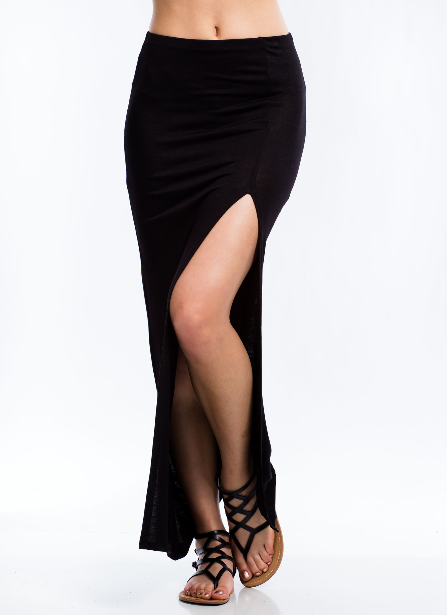 Single Slit Maxi Skirt BLACK