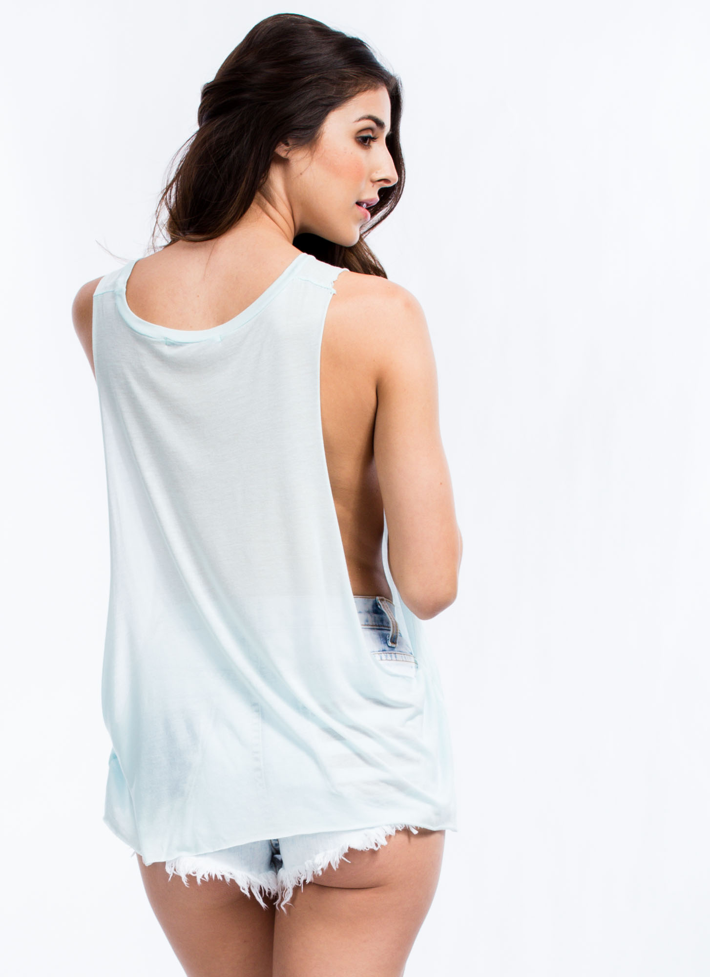 Keep Palm California Muscle Tank Top BLUE