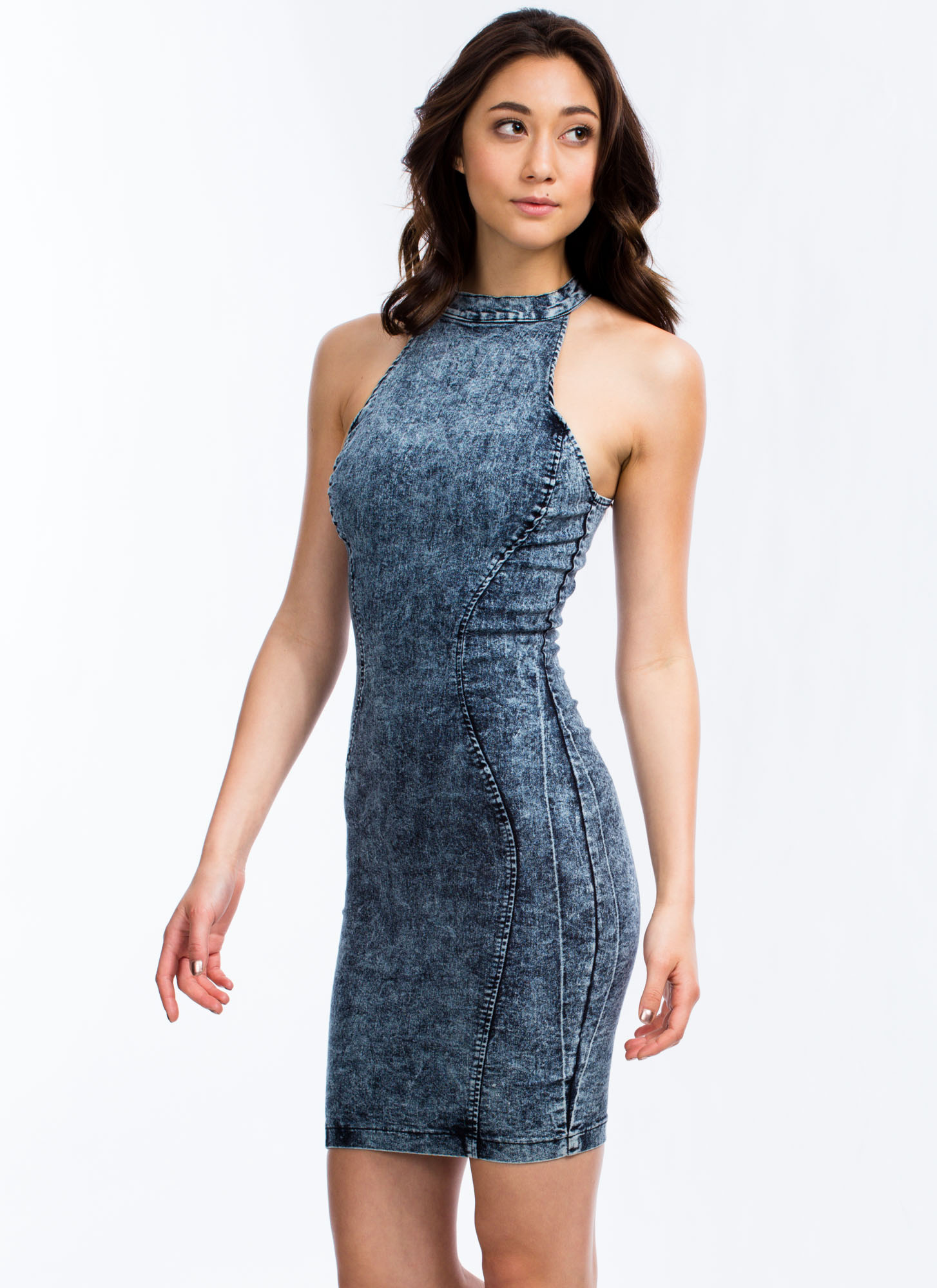 Acid Test Mockneck Denim Dress BLUE
