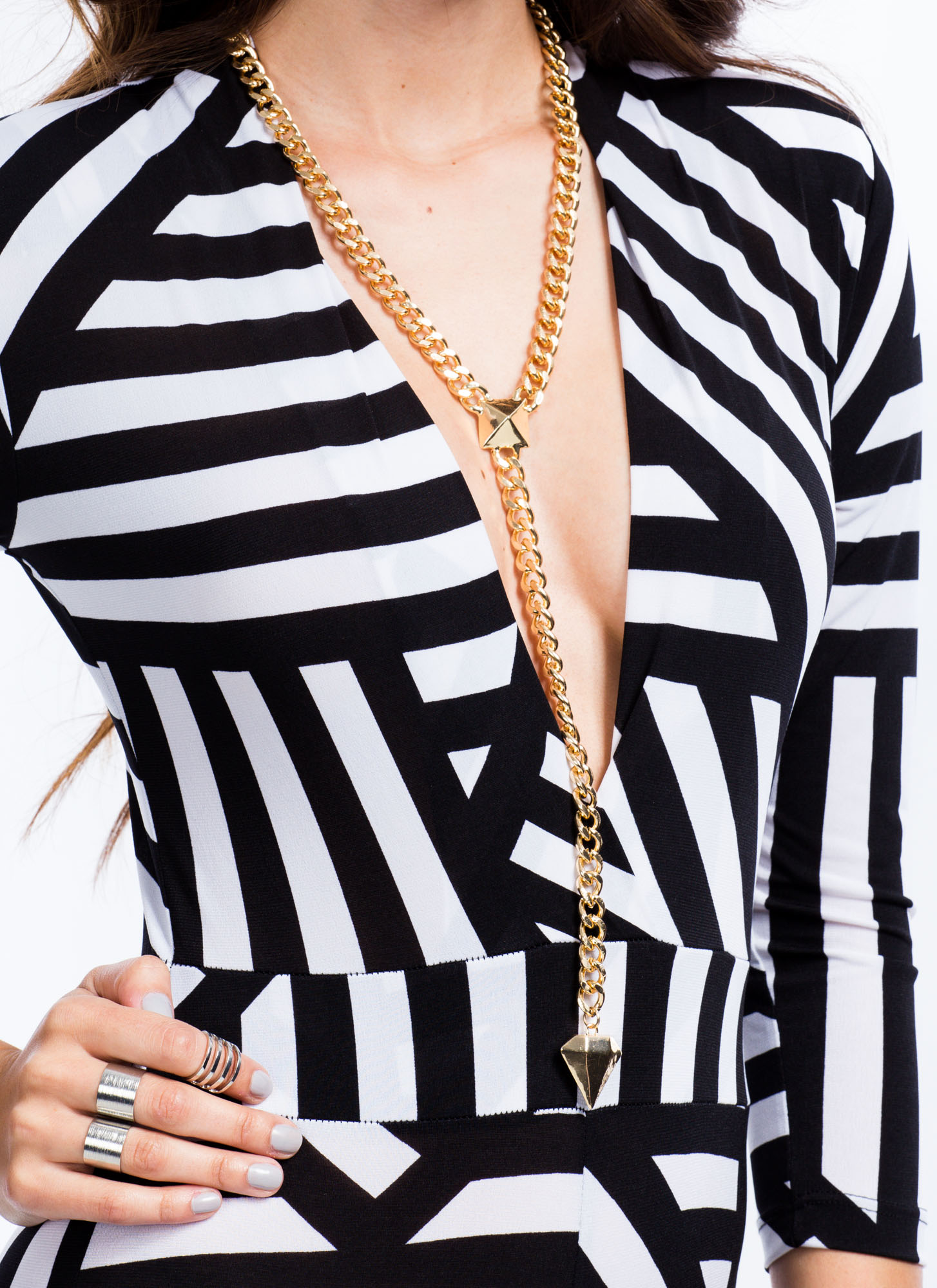 Multidirectional Striped Jumpsuit BLACKWHITE