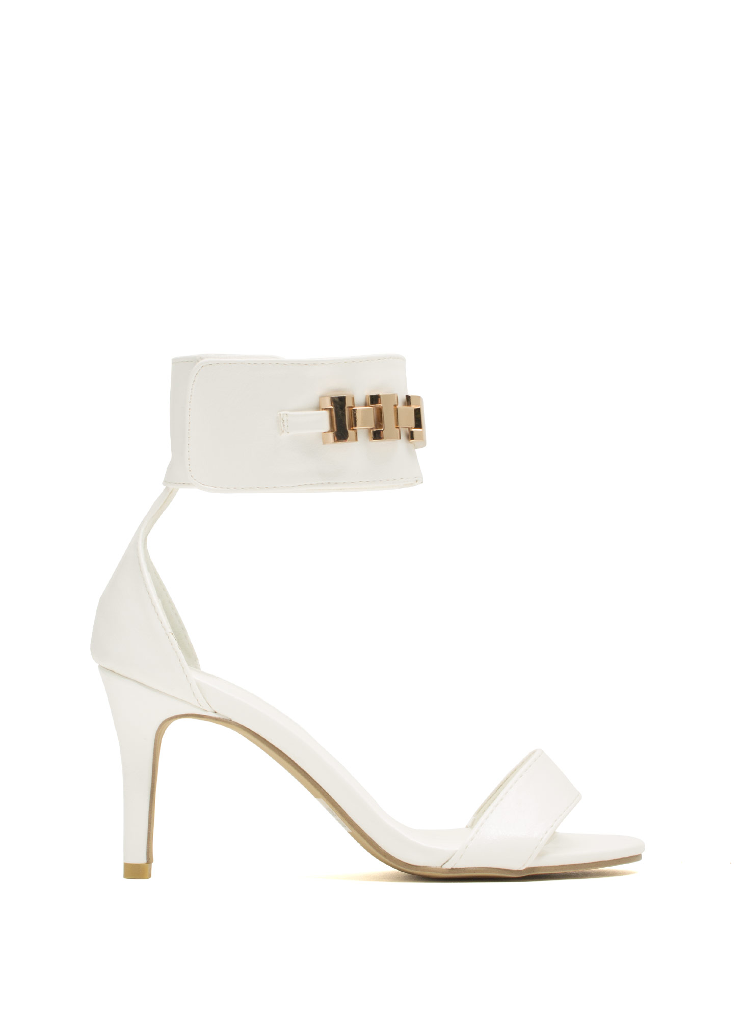 Show Your ID Chain Heels WHITE