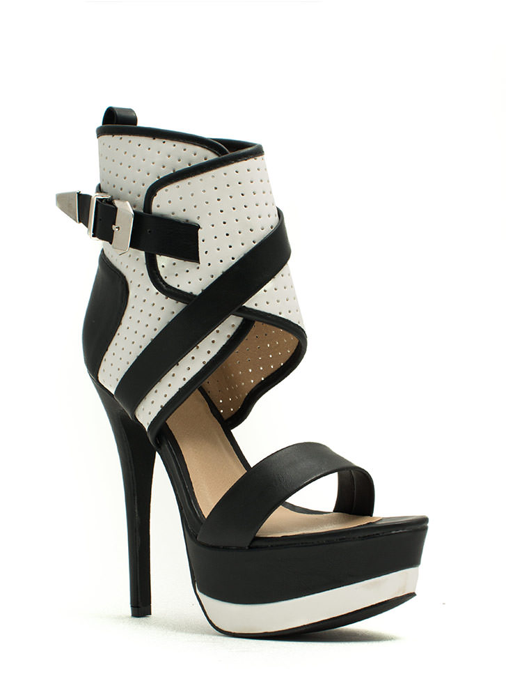 Perfectly Perforated Platform Heels BLACKWHITE