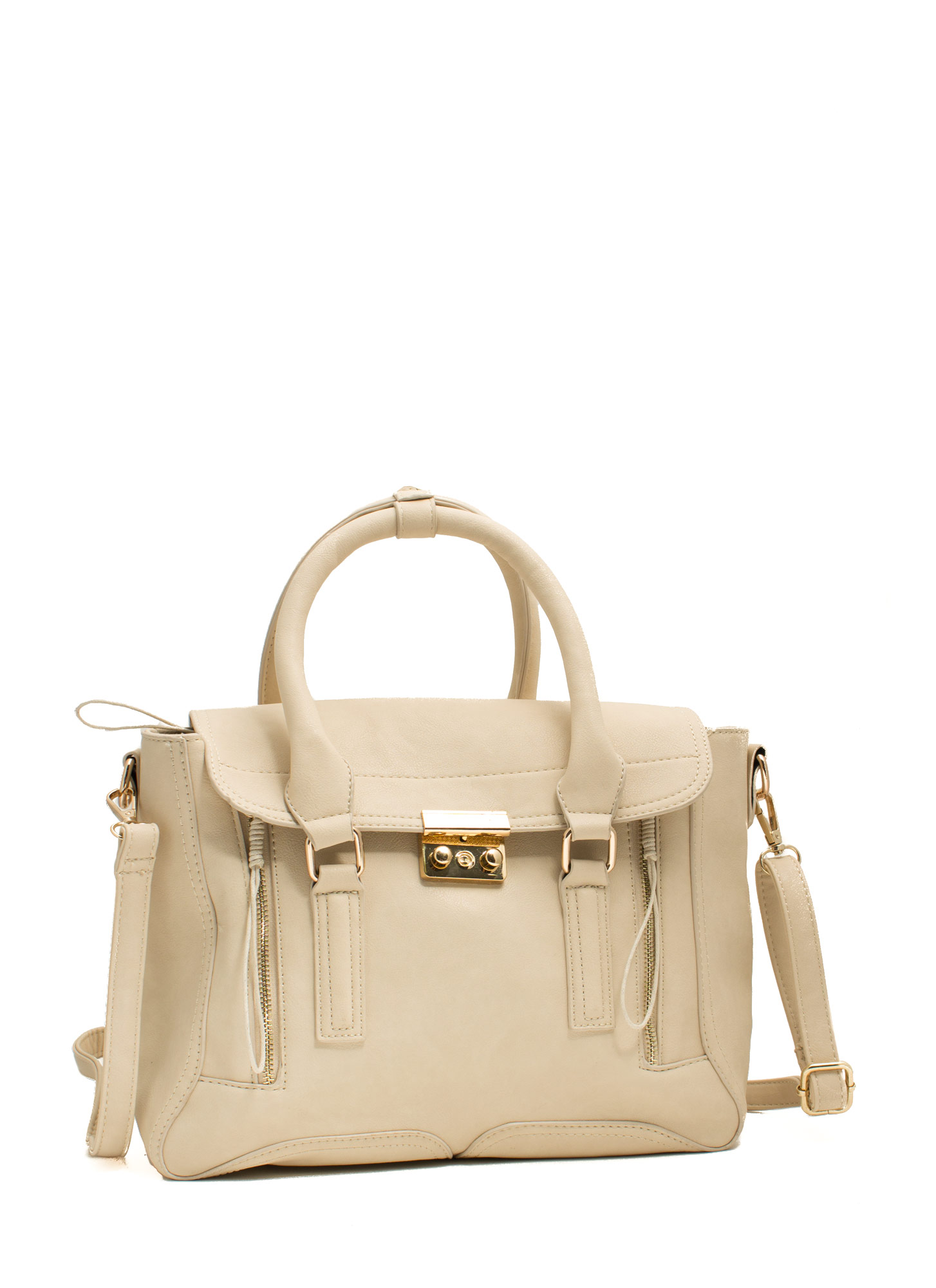 Double Zipper Faux Leather Satchel BEIGE