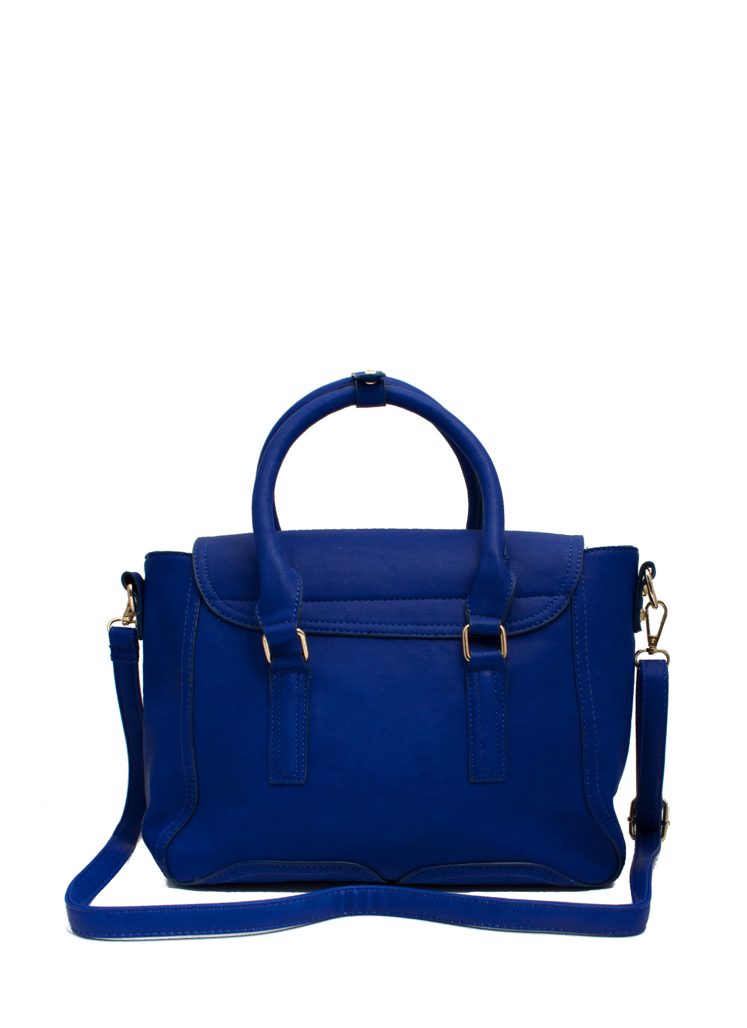 Double Zipper Faux Leather Satchel ROYAL