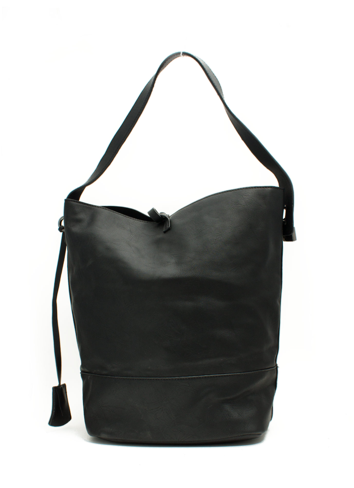 Faux Leather Studded Hobo Bag BLACK