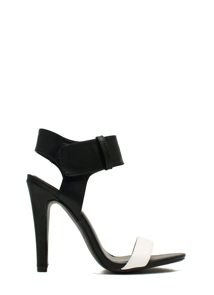 Minimal Cuff Single-Sole Heels BLACKWHITE