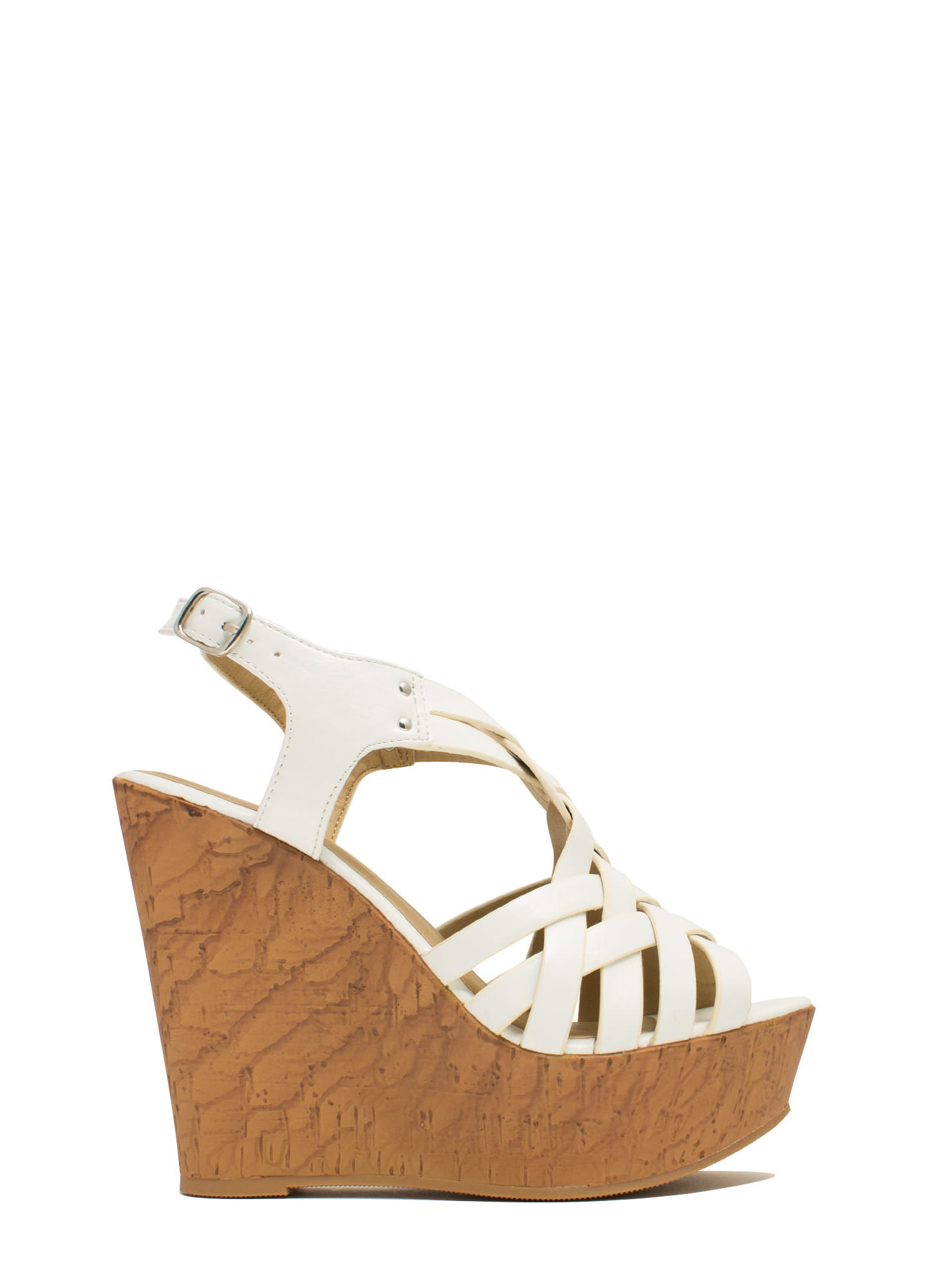 Weave It Alone Platform Wedges WHITE
