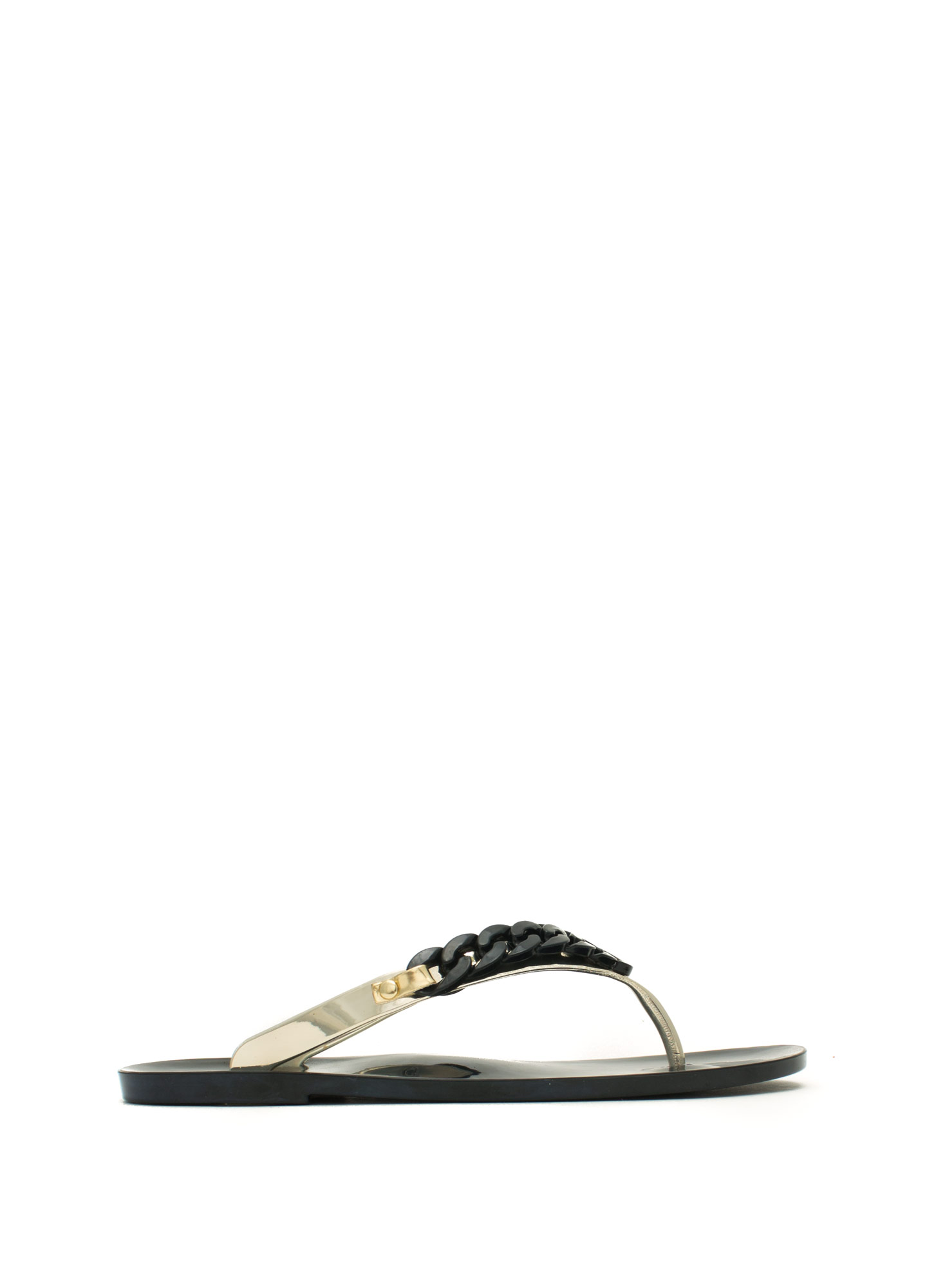 Curb Link Jelly Thong Sandals BLACKGOLD
