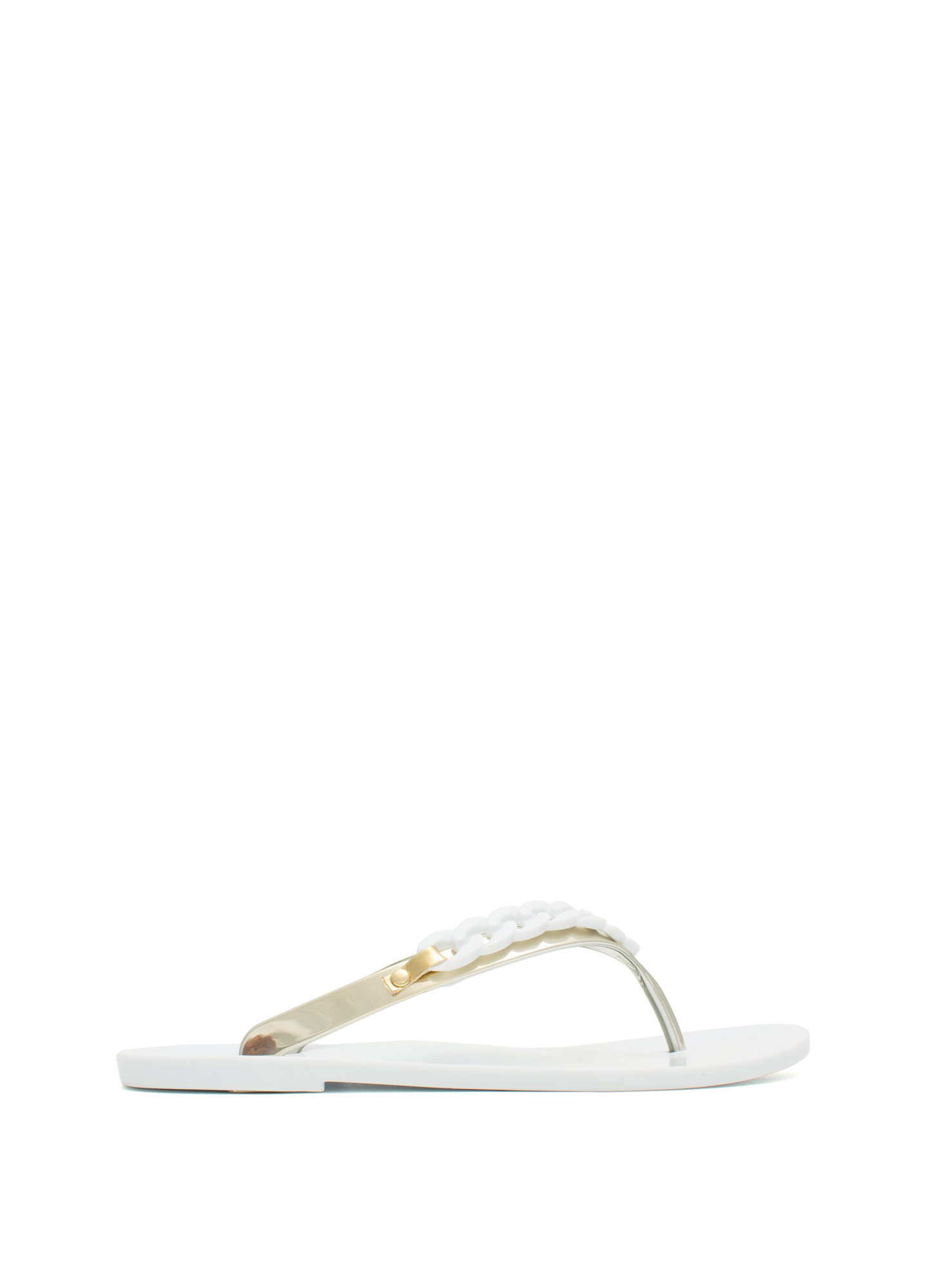 Curb Link Jelly Thong Sandals WHITEGOLD
