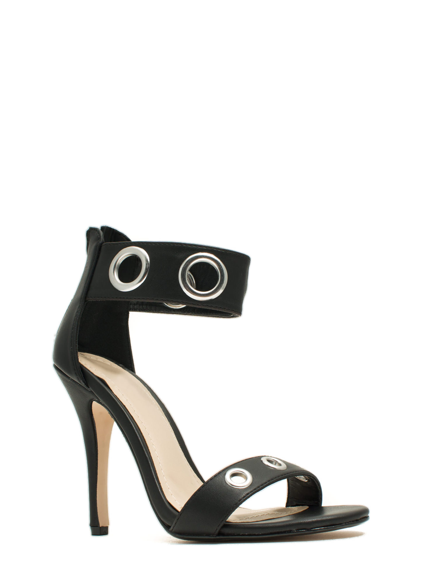 Single-Sole Grommet Heels BLACK