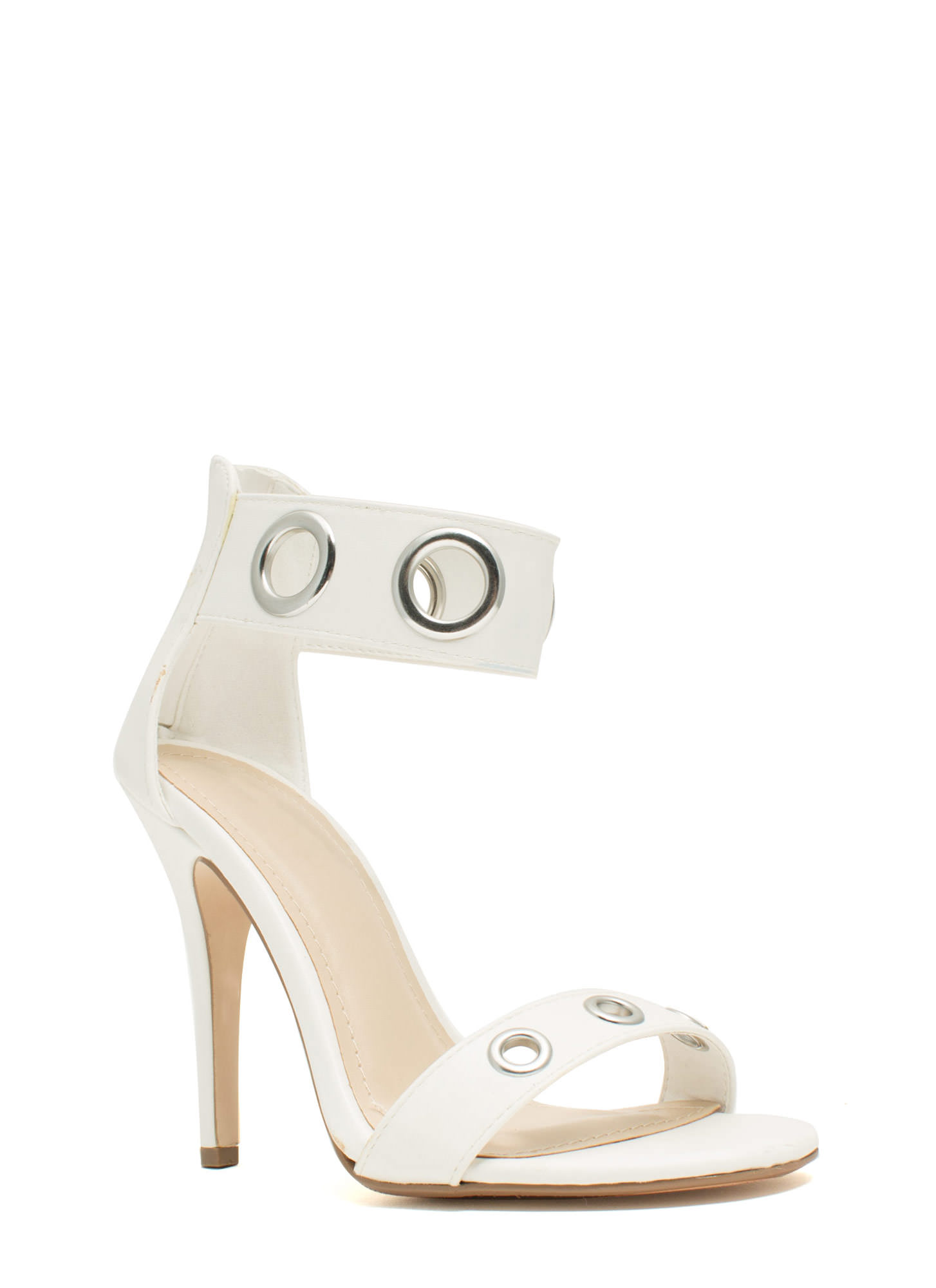 Single-Sole Grommet Heels WHITE