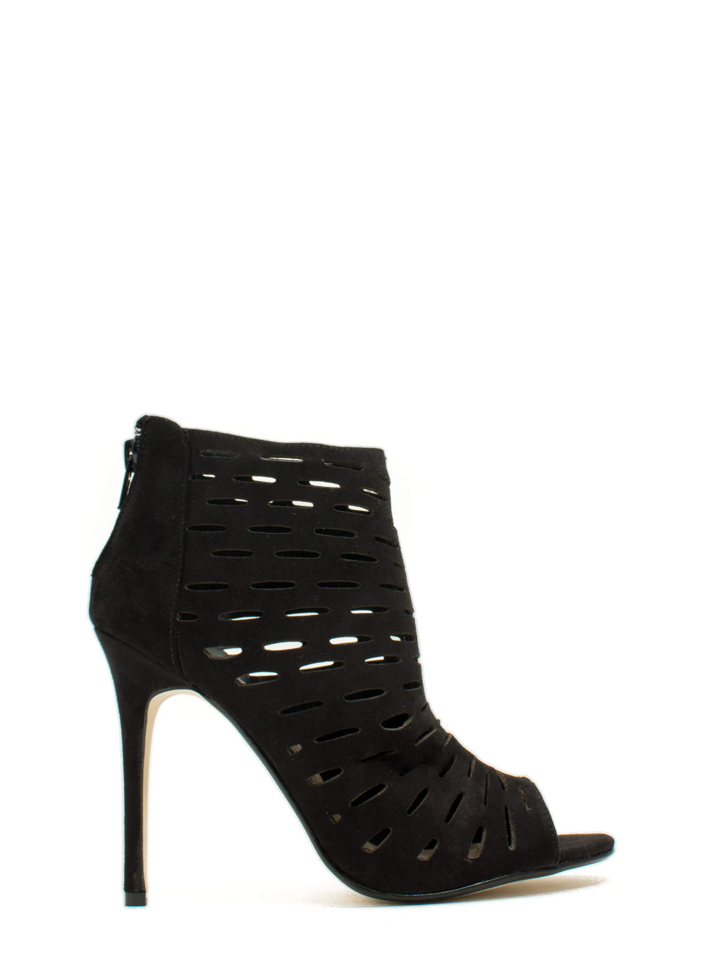Slit Tight Bootie Heels BLACK