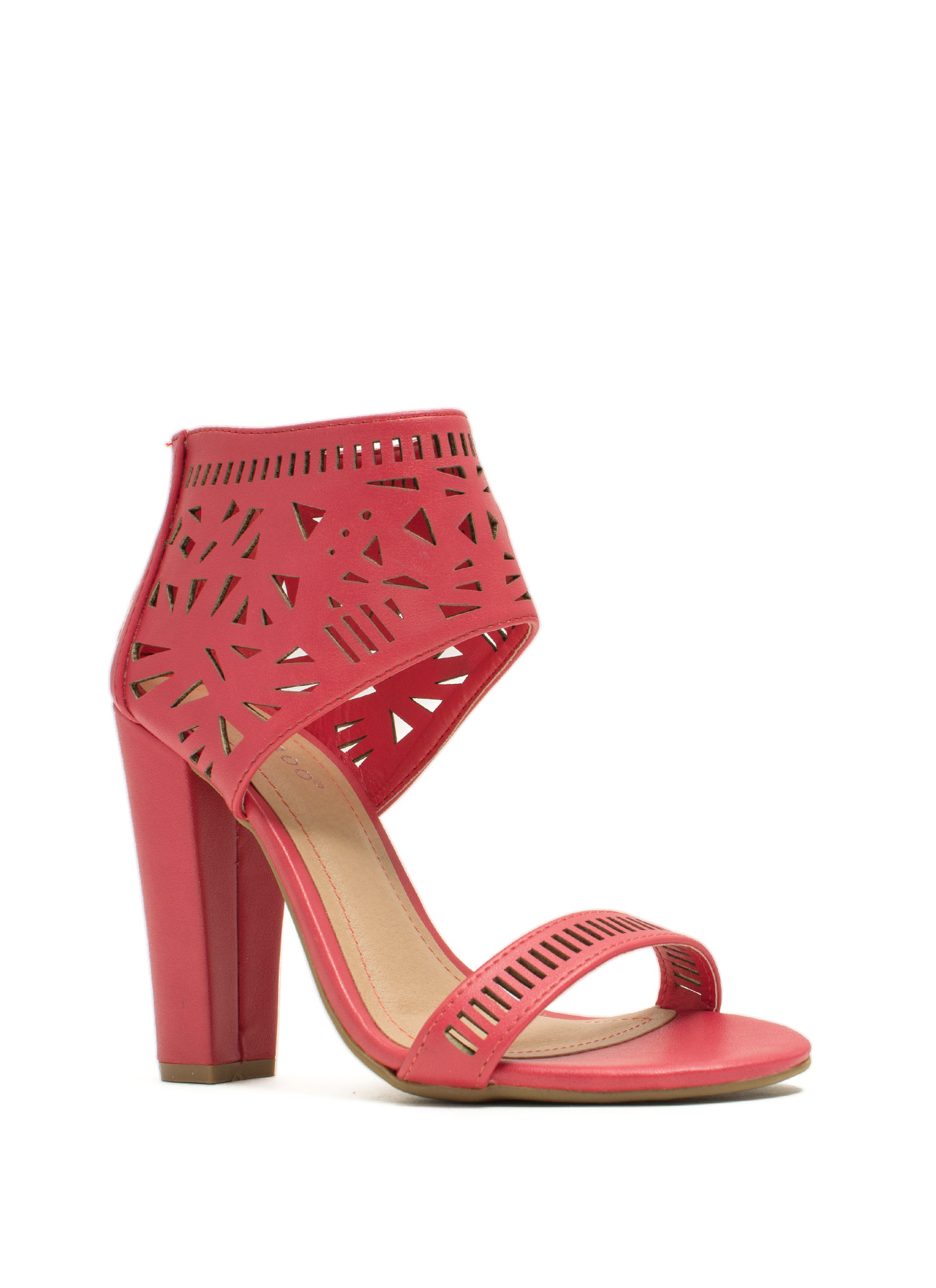 Geometric Play Laser Cut-Out Heels CORAL