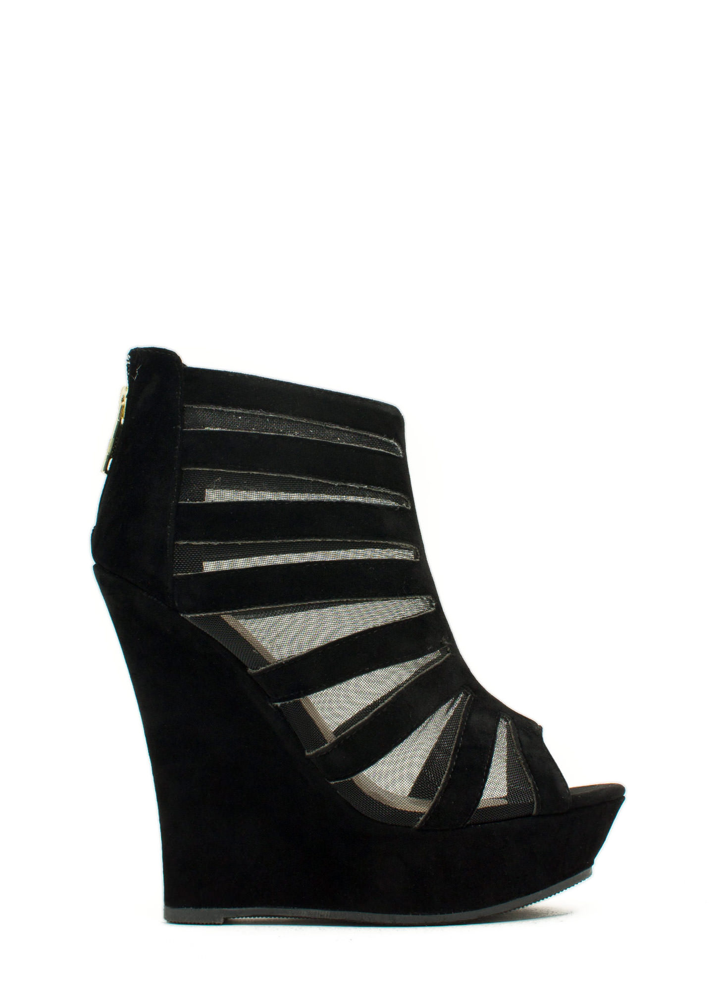 Mesh Inset Laddered Wedges BLACK