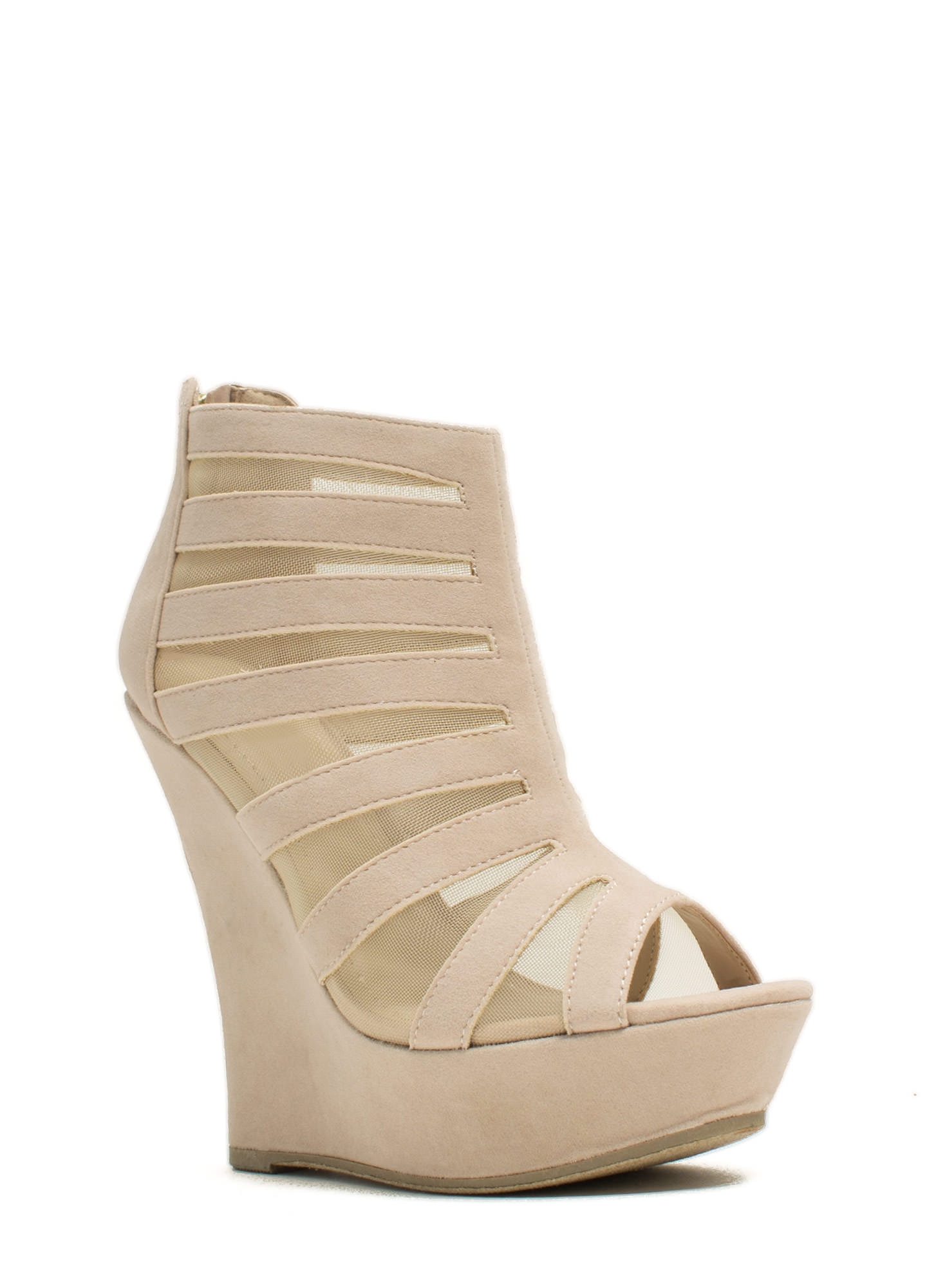 Mesh Inset Laddered Wedges NUDE