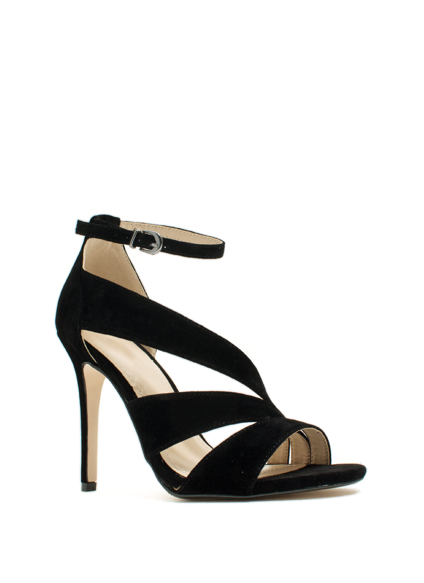 Swooping Straps Faux Suede Heels BLACK (Final Sale)