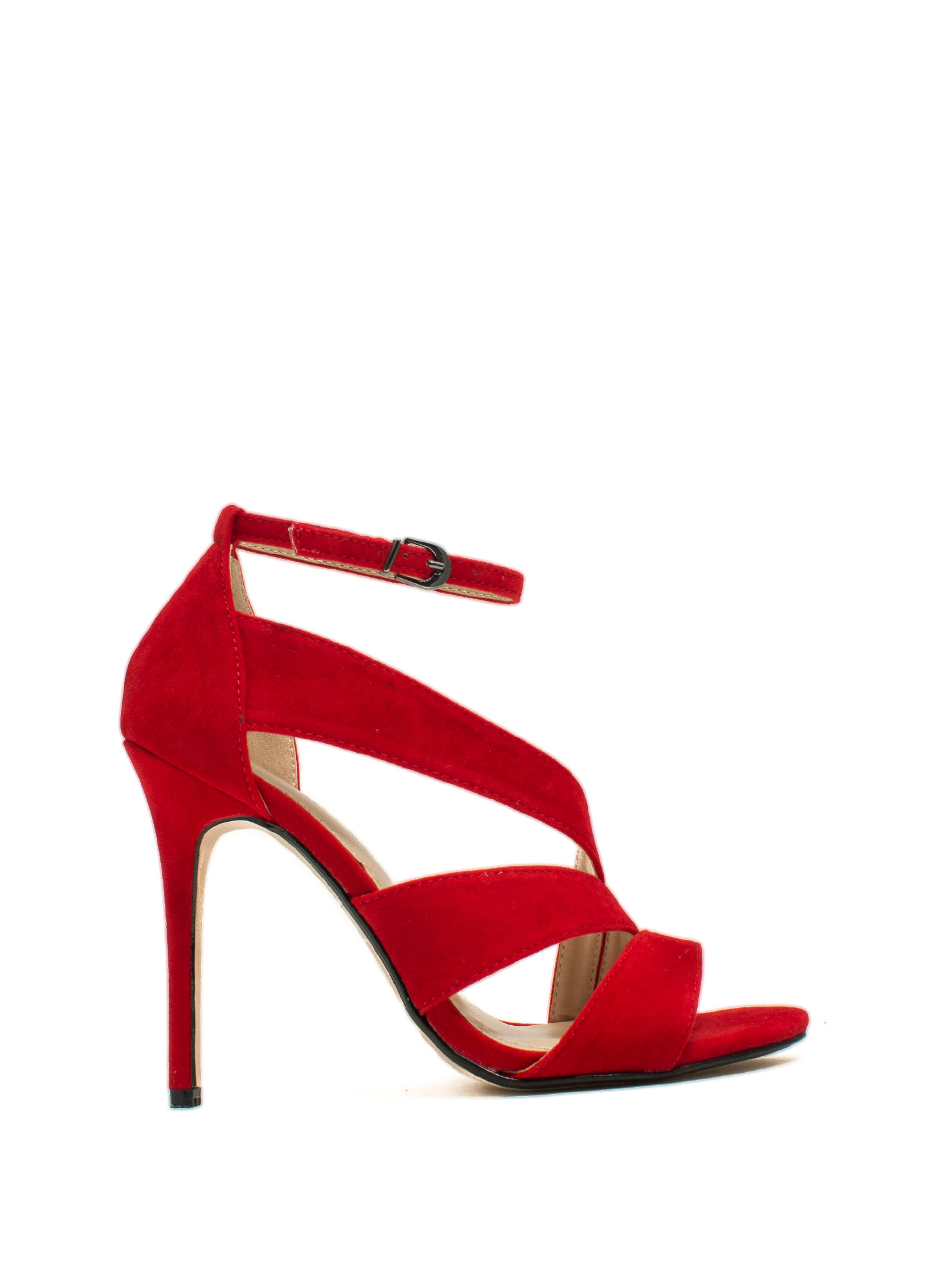 Swooping Straps Faux Suede Heels RED