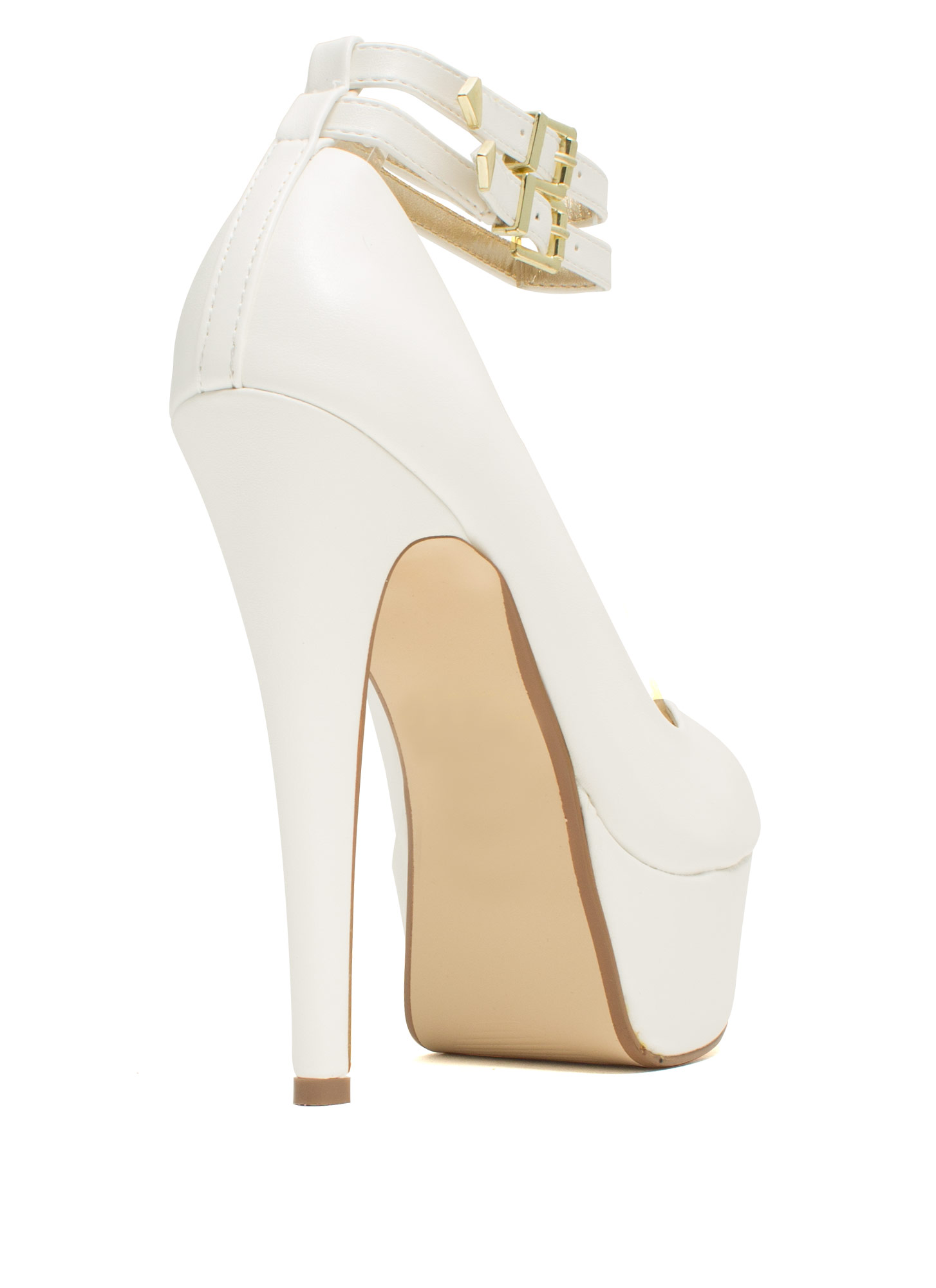 On The Double Faux Leather Heels WHITE