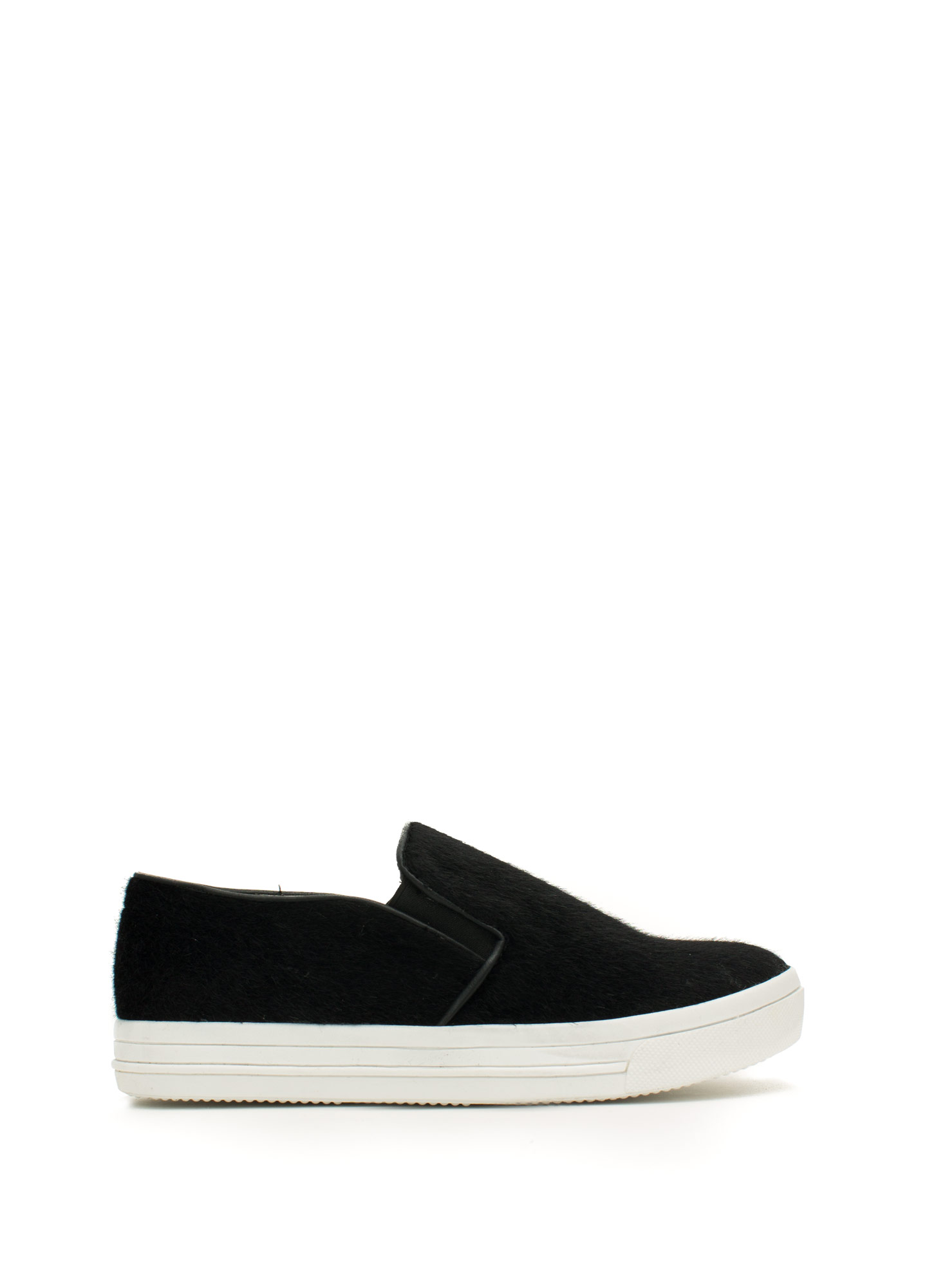 Furry Piped Slip-On Sneakers BLACK